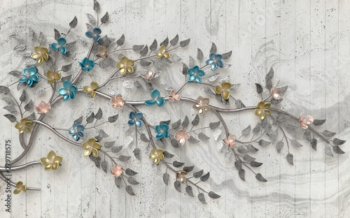 3d mural colored flowers branch tree on vintage background, gray wallpaper