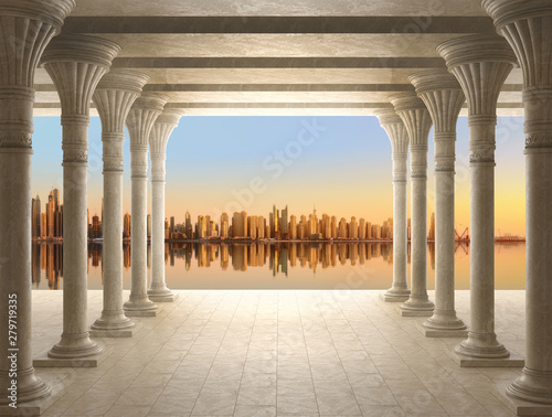 3d wallpapers with columns, will visually expand the space in a small room, bring more light and become an accent in the interior . Sunset scenery with Lake and skyscraper city
