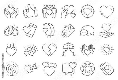 Fototapety, obrazy: Love line icons. Gift box, Broken heart and Romantic letter. Wedding rings, glasses with champagne, love heart icons. Happy couple, heart holding, romantic loudspeaker. Line signs set. Vector