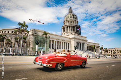 Fond de hotte en verre imprimé Havana La Habana en auto por el Capitolio