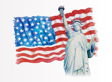 Statue Liberty On Flag American- Hand Drawn In White Background.
