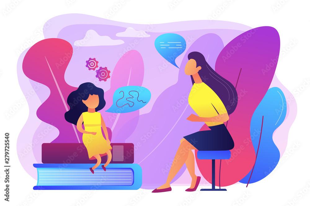 Fototapeta Speech-language pathologist. Basic language skills. Articulation problem. Speech therapy, language therapy, improve language development concept. Bright vibrant violet vector isolated illustration