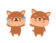 Cute happy smiling dog and sad cry character