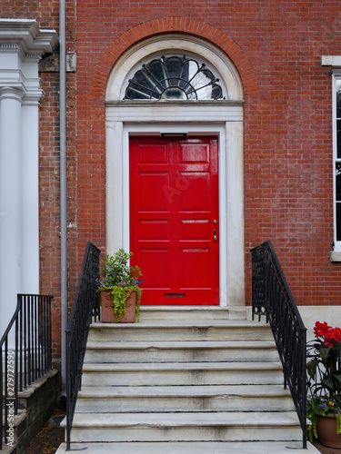 Steps Leading To Bright Red Front Door