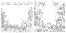 Line Art Of Floral Coral Reefs,rocks And Fish Collection With Copy Space For Design Element. Vector Illustration
