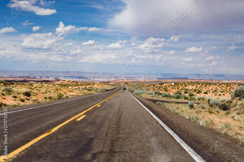 Foto op Canvas Route 66 The road in Arizona, a road trip to the United States.