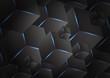 Dark background overlap layer with hexagonal 3d bacdrop