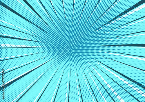 Abstract light blue radial dotted background with circle of dark and light stripes. Bright sky turquoise pop art texture for wallpaper, banner or presentation design