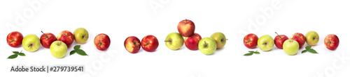 Valokuva  Set of red apples on a white background