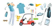 Golf Equipment Set Logo Icons ...