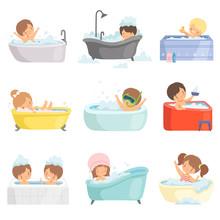 Cute Little Kids Bathing And Having Fun In Bathtub Set, Adorable Boys And Girls In Bathroom, Daily Hygiene Vector Illustration
