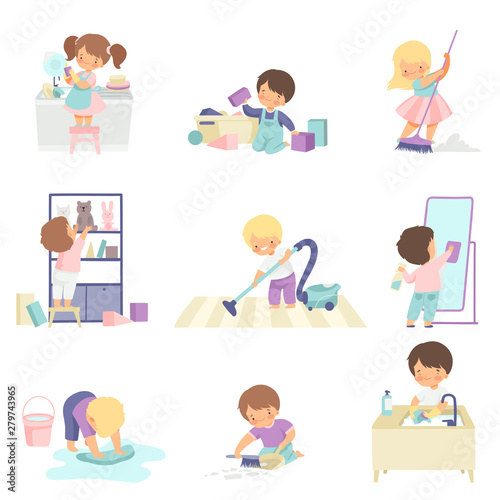 Fotografia Cute Adorable Kids Doing Housework Chores at Home Set, Cute Little Boys and Girl