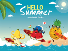 Vintage Summer Poster Design With Vector Watermelon, Banana, Pineapple & Surfboard Characters.