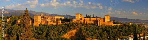 Panoramic view of Alhambra palace in the blue hours, Granada - Andalusia, Spain, viewed from Mirador San Nicolas Canvas Print