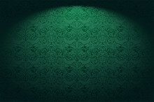 Royal, Vintage, Gothic Horizontal Background In Green With A Classic Baroque Pattern, Rococo.With Dimming At The Edges. Vector Illustration EPS 10