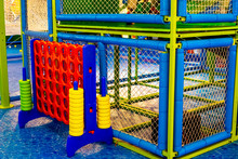Kindergarten Playground With Classic Jumbo Giant 4 Connect In A Row To Score Board Games.