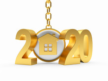 2020 New Year Golden Numbers And  House Icon On Key Chain Isolated On White Background. 3D Illustration
