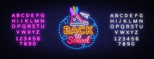 Back To School Neon Sign Vector. Design Template Neon Sign, Light Banner, Nightly Bright Advertising, Light Inscription. Vector Illustration. Editing Text Neon Sign