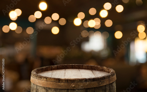 Obraz Oktoberfest beer barrel and beer glasses with wheat and hops on wooden table - fototapety do salonu