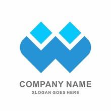 Monogram Letter W Geometric Square Cube Architecture Construction Business Company Stock Vector Logo Design Template