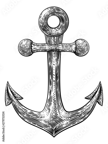 Foto An anchor from a boat or ship tattoo or retro style woodcut etching drawing in a