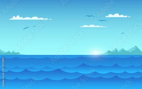 Fond de hotte en verre imprimé Piscine Sea panorama, seascape flat vector illustration