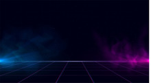 Synthwave Vaporwave Retrowave Cyber Background With Copy Space, Laser Grid, Starry Sky, Blue And Purple Glows With Smoke And Particles. Design For Poster, Cover, Wallpaper, Web, Banner, Etc.