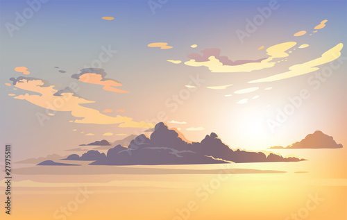 Vector landscape sky clouds. Plane in the sky. cartoon anime style. Background design - 279755111