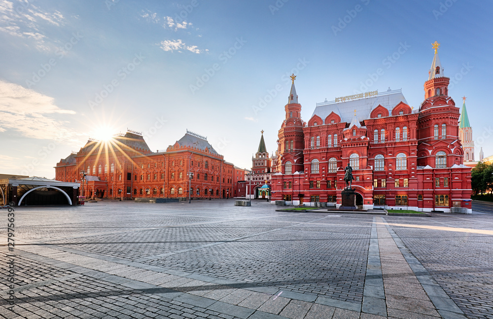 Fototapety, obrazy: Russia, Moscow - Red square at sunrise, nobody