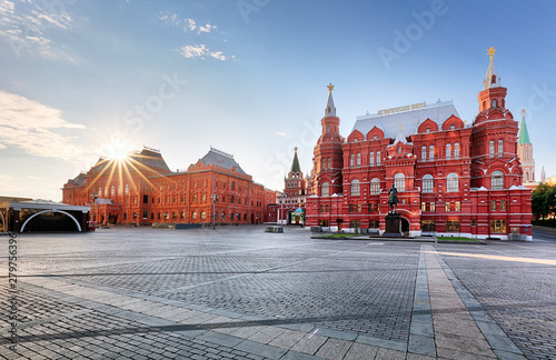 Fotografie, Obraz  Russia, Moscow - Red square at sunrise, nobody