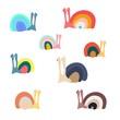 Hand drawn snail doodle. Print for kids design.