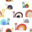 Hand drawn snail doodle. Seamless fabric pattern.