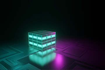Glowing box on wire frame neon glow. 3d rendered