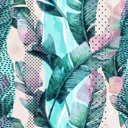 Tuinposter Aquarel Natuur Watercolor seamless pattern of banana tropical leaves on vertical striped background
