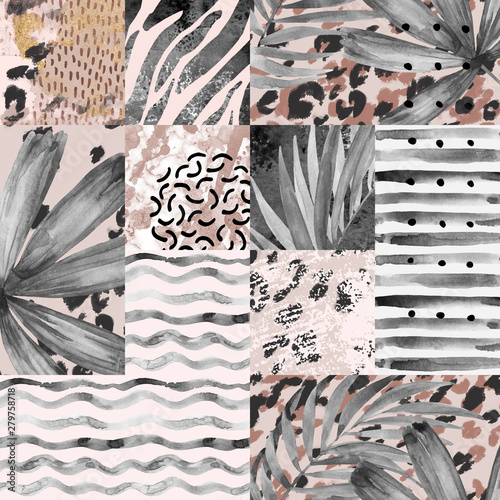 Poster Grafische Prints Hand painted water color palm leaves, stripes, animal print, doodles, grunge and watercolour textures geometric background