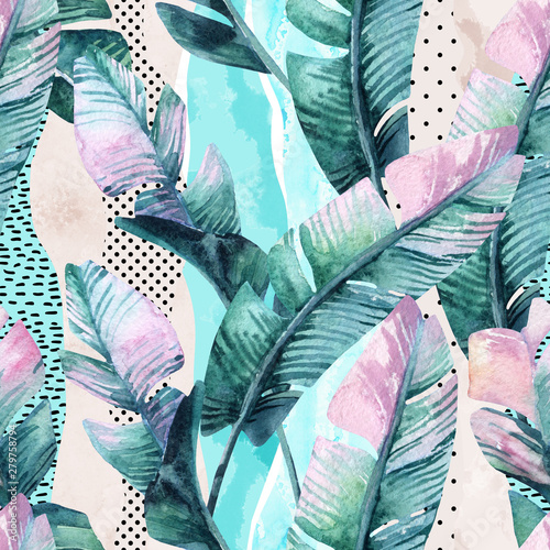 Poster de jardin Aquarelle la Nature Watercolor seamless pattern of banana tropical leaves on vertical striped background