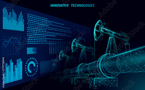 Oil pipeline low poly business concept Canvas Print