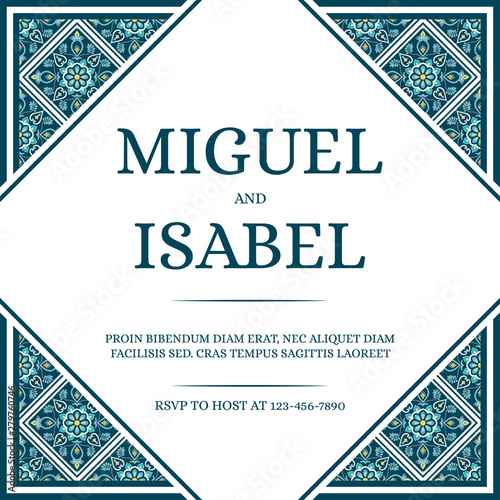 Fototapeta Traditional Mexican Wedding Invite Card Template Vector Vintage Mosaic Tile Pattern With Green Blue And Turquoise Texture Luxury