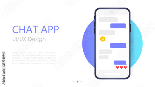 Mobile chat app mockup Canvas Print