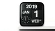 Symbolizing the change from 2019 to 2020 New Year concept, Real analog clock flip number counter for 2019-2020 countdown with audio Included, Slow Motion footage and copy space for your text