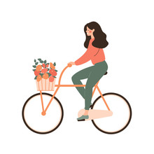 Cartoon Young Woman Rides Bicycle With Bouquet In Basket. Concept Of Love Cycling . Vector Illustration