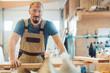 canvas print picture - Glücklicher Tischler in seiner Tischlerei oder Werkstatt