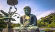 Leinwanddruck Bild - Kamakura - June 06, 2019: The great Buddha statue in the Kotoku-in Buddhist temple in Kamakura, Japan