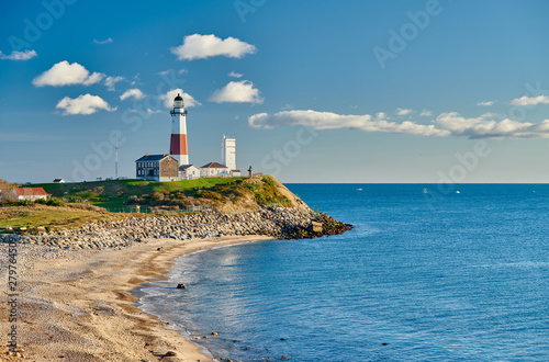 Montauk Lighthouse and beach, Long Island, New York, USA. Wallpaper Mural