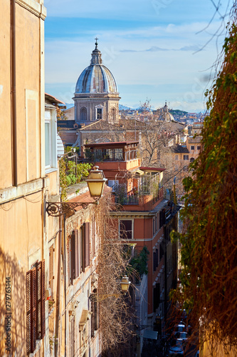 Rome street and skyline in Italy