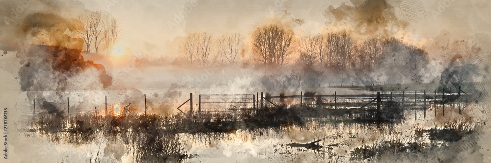 Digital watercolour painting of Panorama landscape of lake in mist with sun glow at sunrise - obrazy, fototapety, plakaty