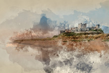 Digital Watercolor Painting Of Beautiful Landscape Image Of Bamburgh Castle On Northumberland Coast At Sunrise With Vibrant Colors