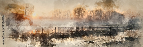 Fototapeta Digital watercolour painting of Panorama landscape of lake in mist with sun glow at sunrise obraz
