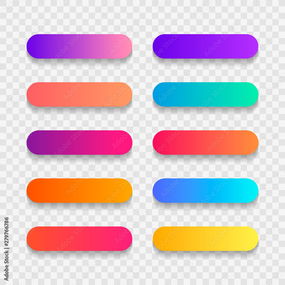 Fototapeta Super set of button gradient style with shadow isolated on transparent background for website, ui, mobile app. Modern vector illustration design