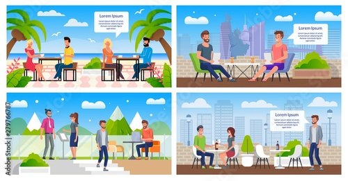 Resting in Outdoor Cafe Flat Vector Posters Set Wallpaper Mural